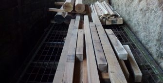 Oak frame timber for Chelsea Flower Show summerhouse. Flat pack