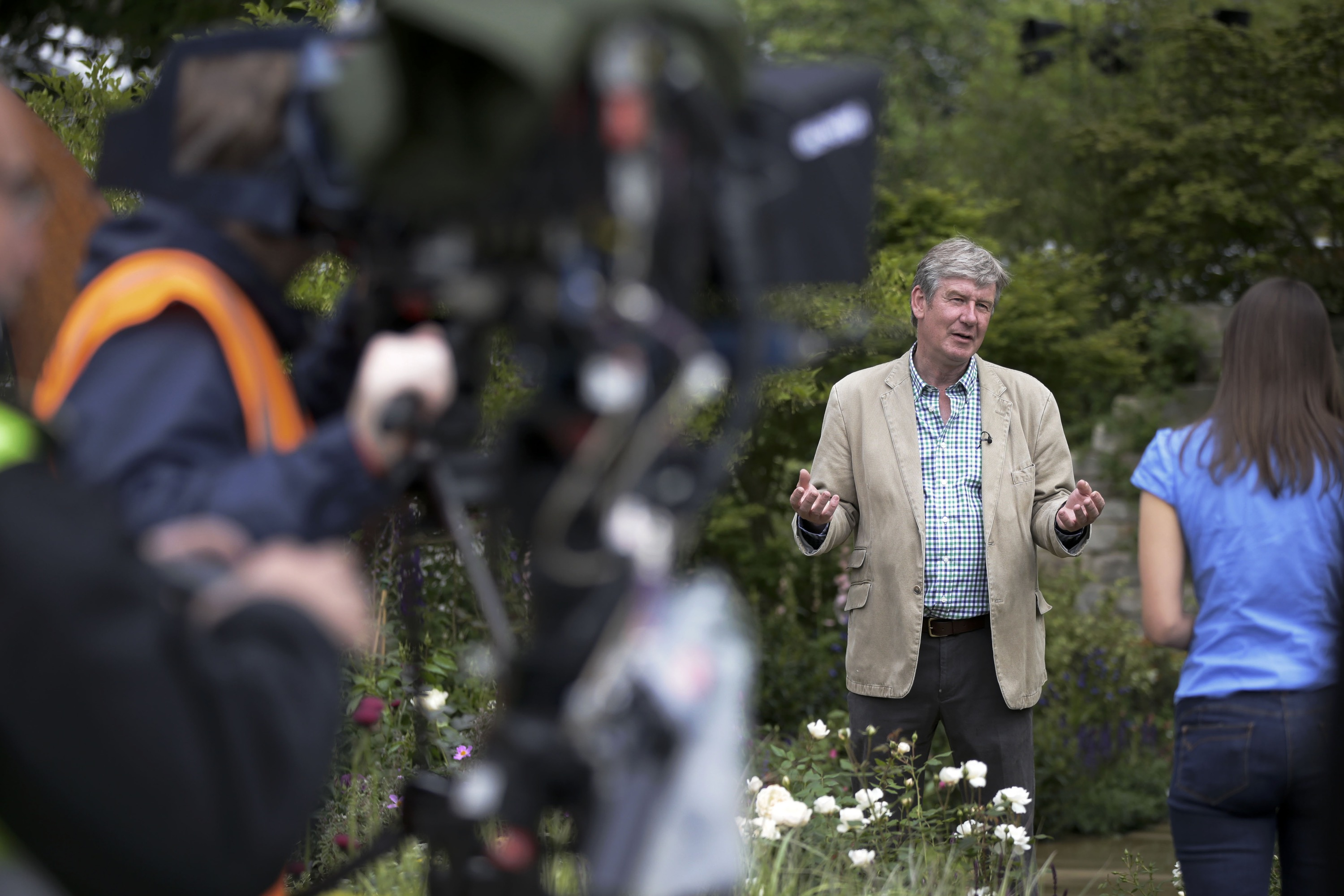 Roger Platts BBC interview at The Chelsea Flower Show for his Gold Medal winning Garden Windows Through Time.