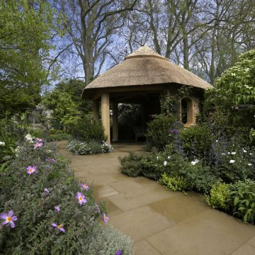 The M and G Garden Designed by Roger Platts using local materials old and new to celebrate the Chelsea Centenary. Awarded Gold Medal