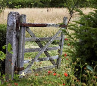 Old gate in garden leading to wildflower meadow at Leydens in Kent. Open for The NGS