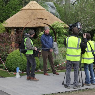 BBC interview Roger Platts at The Chelsea Flower Show. Garden Design questions about his show garden