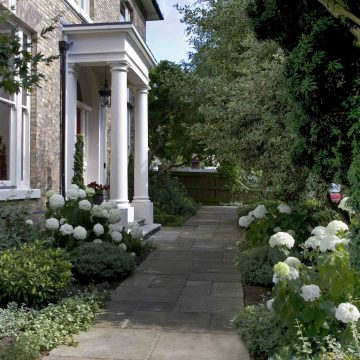 Garden Design and terrace planting. Landscape designer. Townhouse garden.