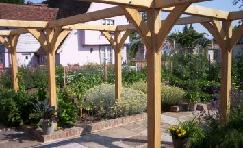Oak Frame Pergolas, made from English green Oak. Supply and pergola installation for gardens, paths, patios and terraces.