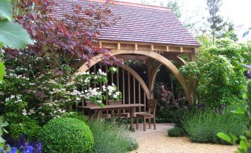 Oak Summerhouse Construction and Supply. Tiled roof, treated oak. Spend more time outdoors