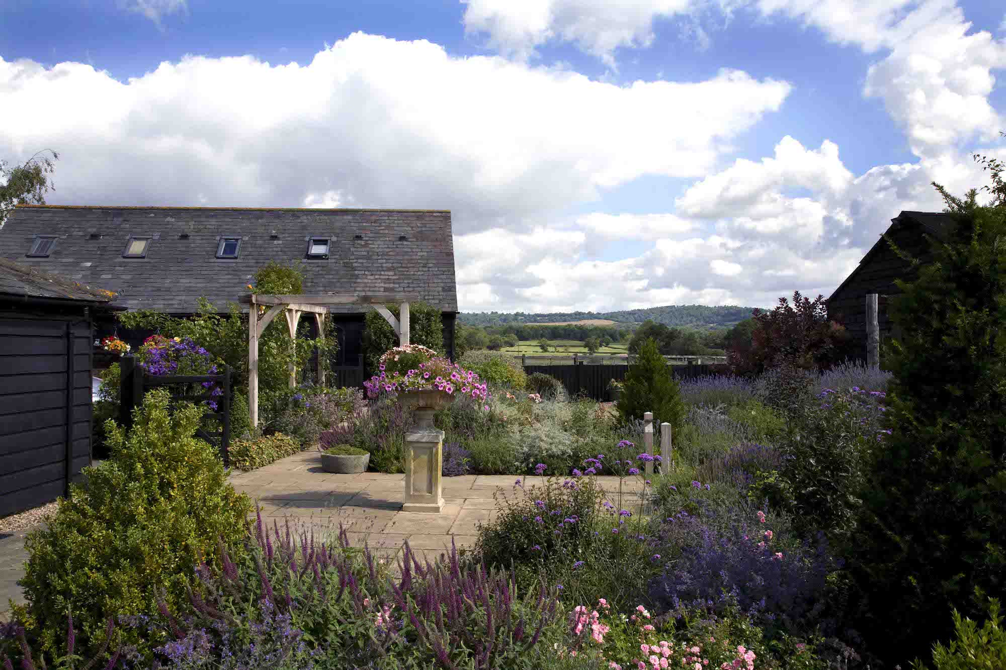 Pergola on terrace located in the Sussex rolling hills