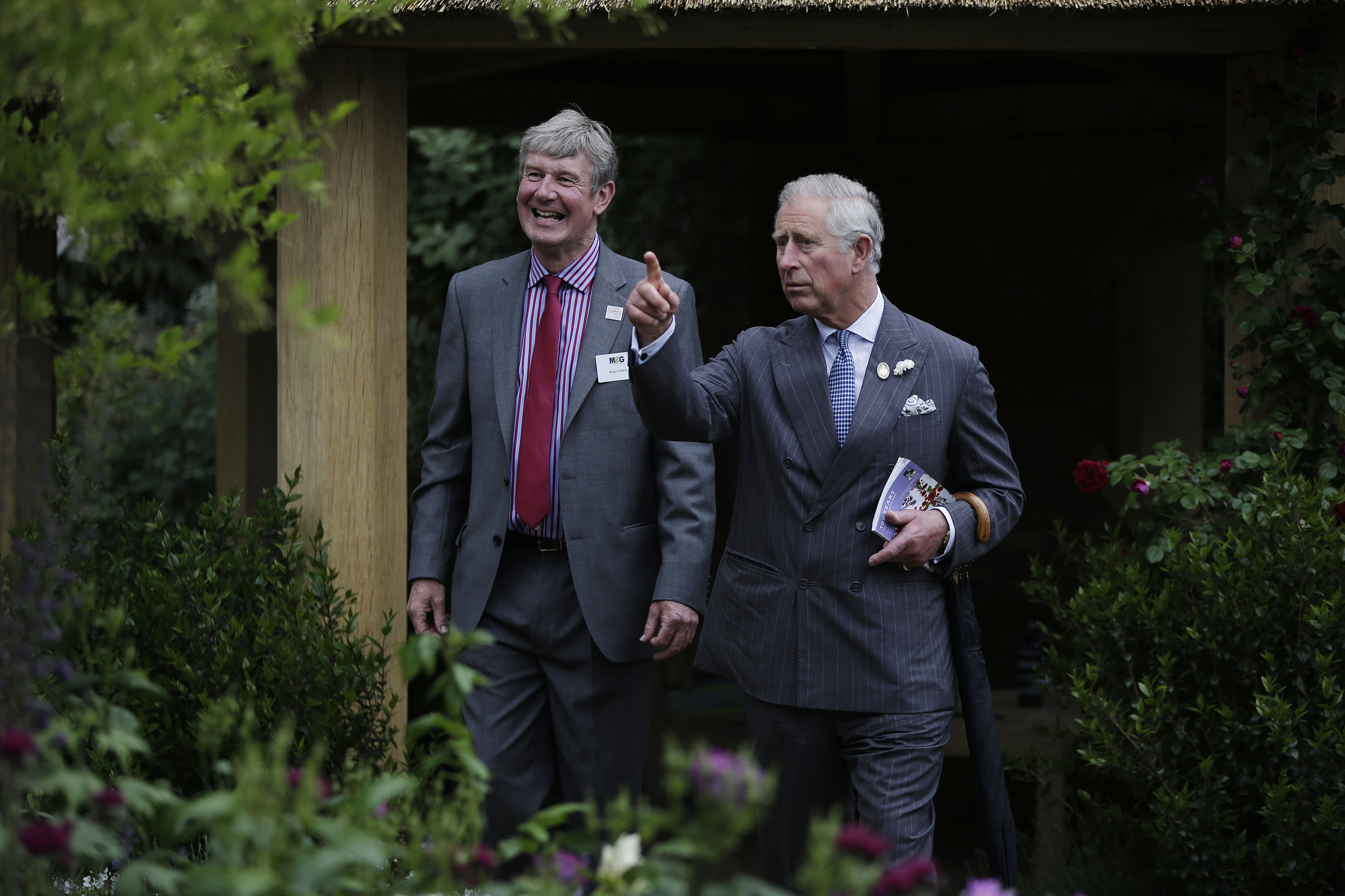Prince Charles and Roger Platts discussing Roger's Garden at The Chelsea Flower Show