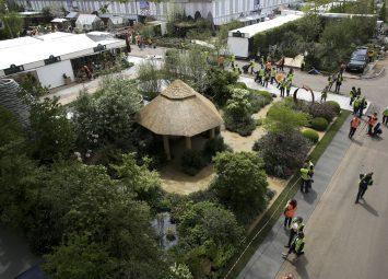 Footage of the Chelsea Flower Show. Roger Platts Garden Design and Nurseries Gold Medal winning garden